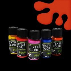 Perleťová barva na textil - oranžová, vhodné na světlý i tmavý textil, 50 ml, malování na oblečení, barvy na oblečení
