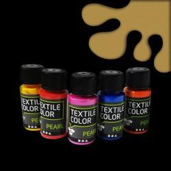 Perleťová barva na textil - zlatá, vhodné na světlý i tmavý textil, 50 ml, malování na oblečení, barvy na oblečení