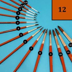 Vlasový kulatý štětec Milan - č. 12, štětce na akvarel, štětce na vodové barvy, štětce do školy, školní štětce
