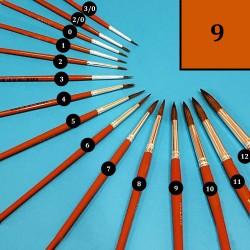Vlasový kulatý štětec Milan - č. 9, štětec na akvarel, štětec na vodové barvy, štětec do školy, školní štětec