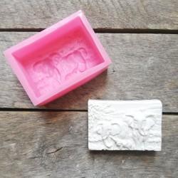 Forma na odlévání, sloni, vhodné na odlévání sádry, kreativního betonu, mýdlové hmoty, samotvrdnoucí hmoty nebo polyme