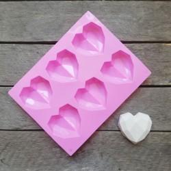 Forma na odlévání, polygonální srdce, vhodné na odlévání sádry, kreativního betonu, mýdlové hmoty, samotvrdnoucí hmoty nebo poly