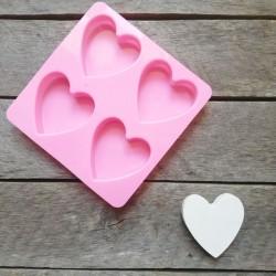 Forma na odlévání, srdce, vhodné na odlévání sádry, kreativního betonu, mýdlové hmoty, samotvrdnoucí hmoty nebo poly