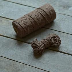Macrame příze - kávová, 10m, macrame provázek, macrame lano, macrame bavlnka