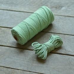 Macrame příze - světle zelená, 10m, macrame provázek, macrame lano, macrame bavlnka