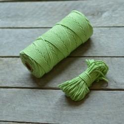 Macrame příze - hráškově zelená, 10m, macrame provázek, macrame lano, macrame bavlnka