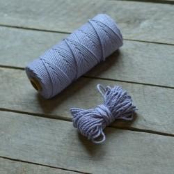 Macrame příze - levandulová, 10m, macrame provázek, macrame lano, macrame bavlnka