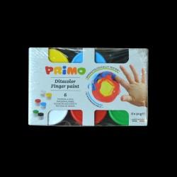 Sada prstových barev Primo, 6x50g, barvy pro malování prsty na tělo, papír, lepenku, dřevo, plast. hmoty apod