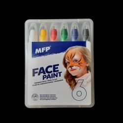 Obličejové barvy - sada 6 tužek, vytahovací, tužky na obličej jsou ideální na maškarní, různé večírky apod.
