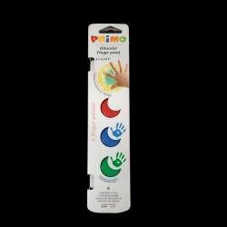 Sada prstových barev Primo, 6x25ml, barvy pro malování prsty na tělo, papír, lepenku, dřevo, plast. hmoty apod