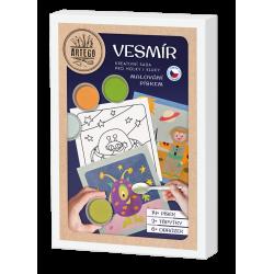 Vesmír -  velká kreativní sada pískování 6 obrázků marťan, vesmírná loď, mimozemšťan, slunce a planety, kosmonaut, vesmírná rake