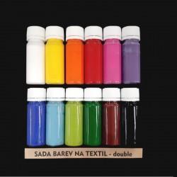 Sada barev na textil, double, 12x15g, vhodné k dekorování světlého textilu