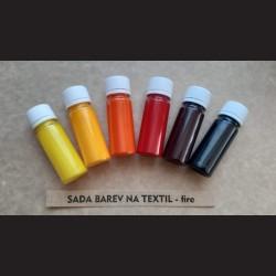 Sada barev na textil, fire, 6x15g, vhodné k dekorování světlého textilu