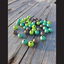Dřevěné korálky MIX  šedé, světle zelené, mintové 10 mm-50g vhodné na korálkování, výrobu lapače snů, pedig. Vhodné po děti i do