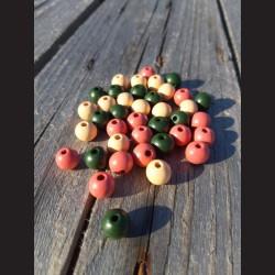 Dřevěné korálky MIX  zelené, korálové, béžové 10 mm-50g vhodné na korálkování, výrobu lapače snů, pedig. Vhodné po děti i do