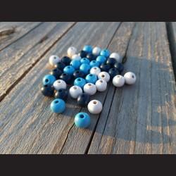Dřevěné korálky MIX modré, světle modré, bílé 10 mm-50g vhodné na korálkování, výrobu lapače snů, pedig. Vhodné po děti i do