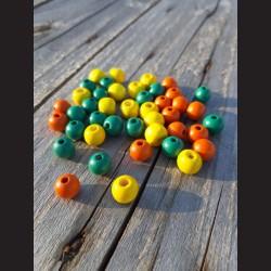 Dřevěné korálky MIX  žluté, oranžové, zelené 10 mm-50g vhodné na korálkování, výrobu lapače snů, pedig. Vhodné po děti i do