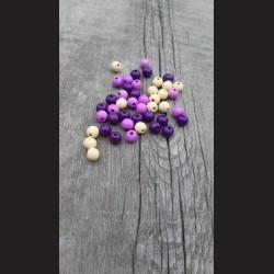 Dřevěné korálky MIX  béžové, fialové,  růžové 10 mm-50g vhodné na korálkování, výrobu lapače snů, pedig. Vhodné po děti i do