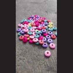 Dřevěné korálky disk  MIX  barev 10 mm-50g vhodné na korálkování, výrobu lapače snů, pedig. Vhodné po děti i do