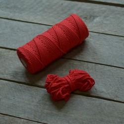 Macrame příze - červená, 10m, macrame provázek, macrame lano, macrame bavlnka