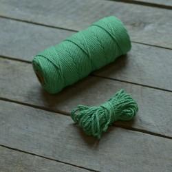 Macrame příze - středně zelená, 10m, macrame provázek, macrame lano, macrame bavlnka