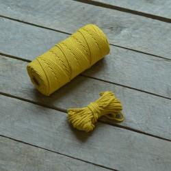 Macrame příze - hořčicově žlutá, 10m, macrame provázek, macrame lano, macrame bavlnka