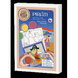 Piráti - velká kreativní sada malování pískem  koráb, pirát, truhlice, papoušek, pirátka, lepka