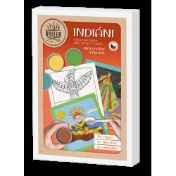 Indiáni- velká kreativní sada malování pískem  teepee, indián na lodi, indiánka a liška, čelenka a tomahawk, vlk, totem