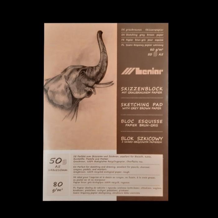 Skicák - A5, 80g, 50 listů , vhodný na tužku, uhel, křídu, na skicování a kresbu.