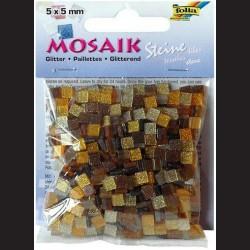 Mozaika třpytivá - hnědá, 5x5 mm
