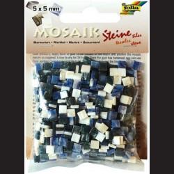 Mozaika pryskyřicová - modrý mramor, 5x5 mm