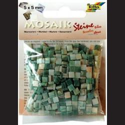 Mozaika pryskyřicová - zelený mramor, 5x5 mm
