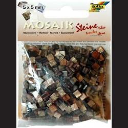 Mozaika pryskyřicová - hnědý mramor, 5x5 mm