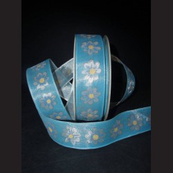 Stuha s květinovým vzorem modrá
