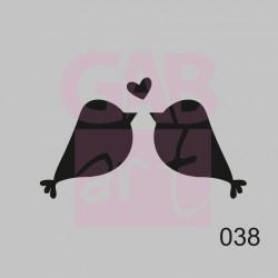Ptáčci a srdíčko  - šablona 038