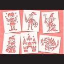 Papírové šablony - POHÁDKOVÉ, 6 ks