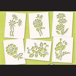 Papírové šablony - KVĚTINY II., 6 ks
