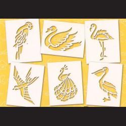 Papírové šablony - PTÁCI, 6 ks