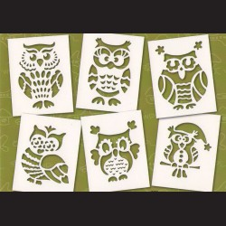Papírové šablony - SOVY, 6 ks