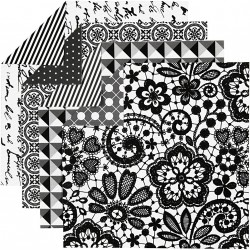 Sada origami papírů - černobílý mix, 10 x 10 cm, 50 ks