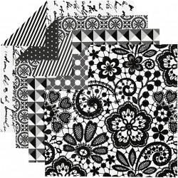Sada origami papírů, černo-bílý mix