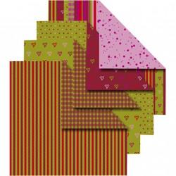 Sada origami papírů - červenozelený mix, 10 x 10 cm, 50 ks
