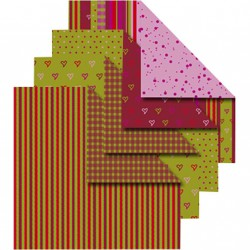 Sada origami papírů, červeno-zelený mix
