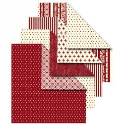 Sada origami papírů - červenokrémový mix, 10 x 10 cm, 50 ks