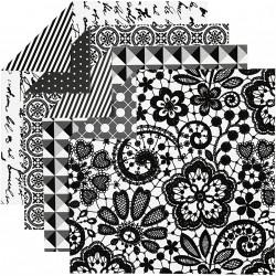 Sada origami papírů - černobílý mix , 15 x 15 cm, 50 ks
