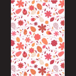 Fotokarton  A4 květiny vzor oranžový, tvrdý karton 300g vhodný na výrobu přání, tvoření s dětmi, scrapbook a další tvoření