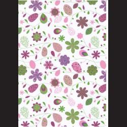 Fotokarton  A4 květinový vzor fialový, tvrdý karton 300g vhodný na výrobu přání, tvoření s dětmi, scrapbook a další tvoření