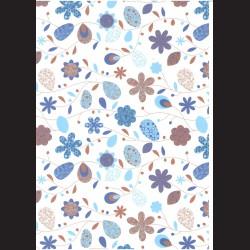 Fotokarton  A4 květinový vzor modrý, tvrdý karton 300g vhodný na výrobu přání, tvoření s dětmi, scrapbook a další tvoření