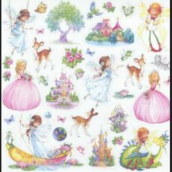 Papír na scrapbook 30,5 x 30,5 cm - Víly a princezny