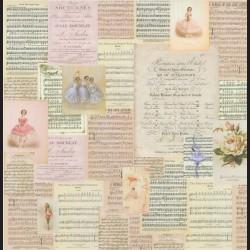 Papír na scrapbook 30,5 x 30,5 cm - Balet a noty